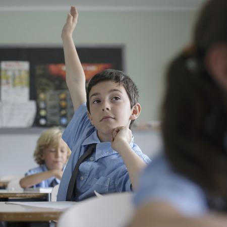 School boy raising hand in class