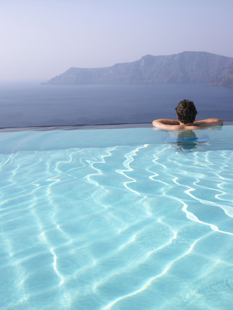 refreshed: Man in swimming pool