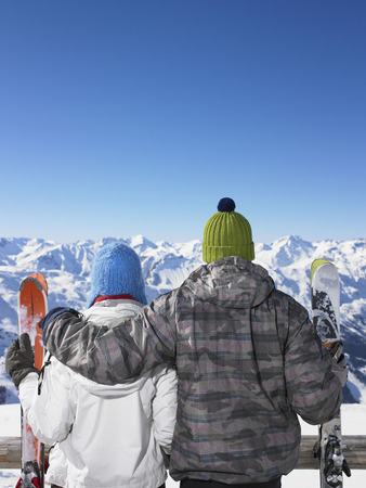 wintery: Couple admiring mountain view