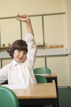 prideful: Boy raising his hand in classroom LANG_EVOIMAGES