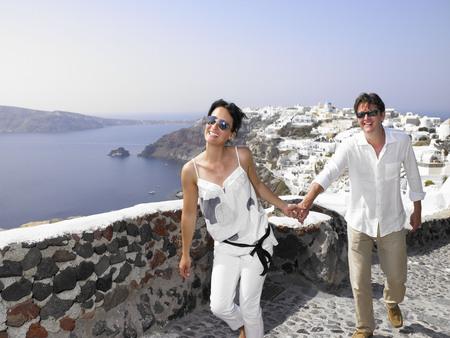 honeymooner: Couple climbing the stairs