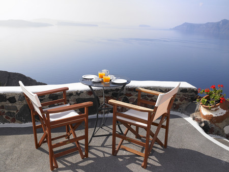 lodgings: Breakfast set up, sea view