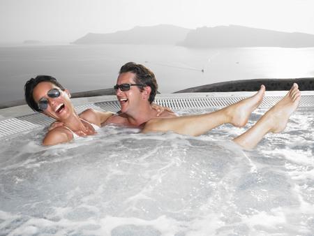 honeymooner: Couple in hot tub