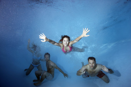 summers: Group swimming underwater