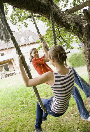 joyous: Young girl and boy on a tree swing LANG_EVOIMAGES