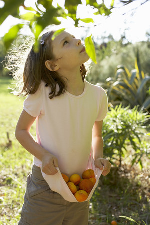 assembled: Young girl outside collecting fruit
