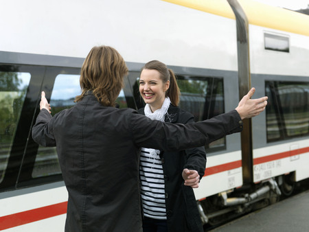 sweethearts: Young couple on train station