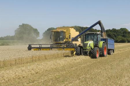 tetbury: Combine harvester with tractor