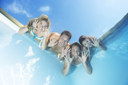 Group of friends in pool