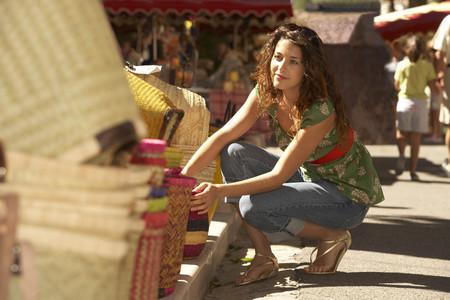 Girl shopping in market