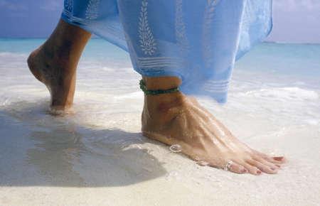 wade: Close up of feet on beach