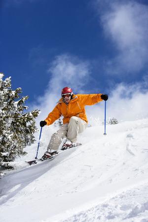 Skier in powder snow