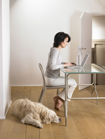 enthusiastically: Woman at her desk, dog sleeping