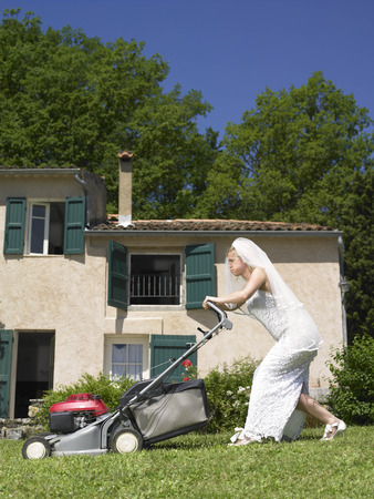 abodes: Bride trying to mow lawn