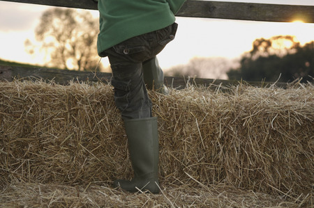 Young boy climbing on hay bales LANG_EVOIMAGES
