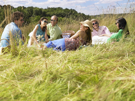 Group of friends having a picnic LANG_EVOIMAGES