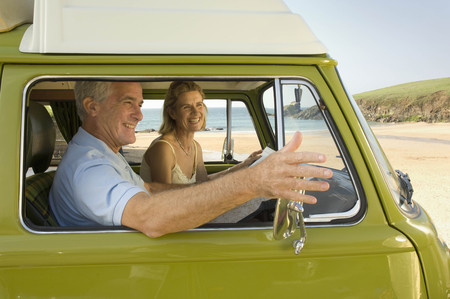 communicated: Mature couple in camper van