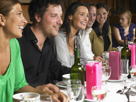 joyous: People talking during dinner