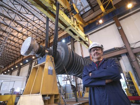 arms trade: Engineer With Turbine And Crane