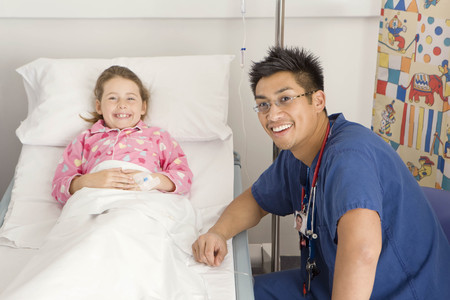 diagnoses: A male doctor visits a sick girl