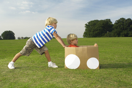 equivalents: boys pushing another boy in box LANG_EVOIMAGES
