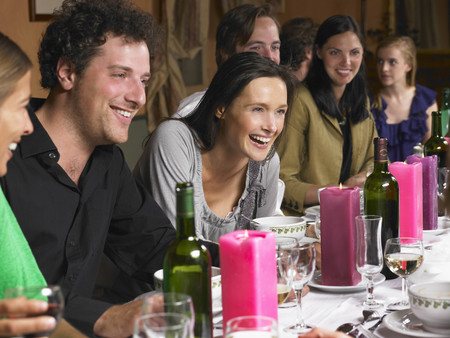 gather: People talking during dinner