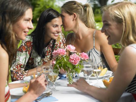 Girlfriends having lunch outdoors