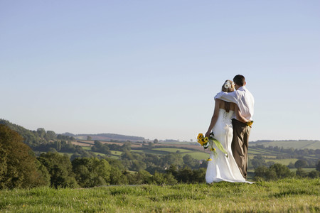 obligations: Newly weds on wedding day