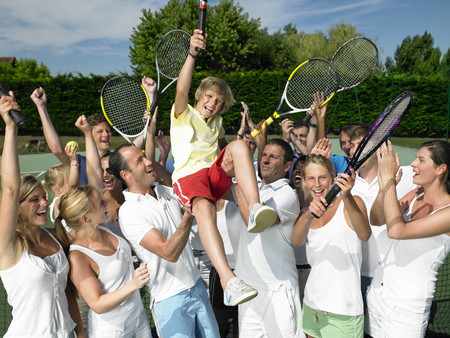 prevailing: People raising the winner,  tennis court