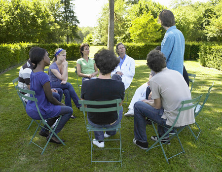 rehabilitated: Circle of people in rehab,  outdoors