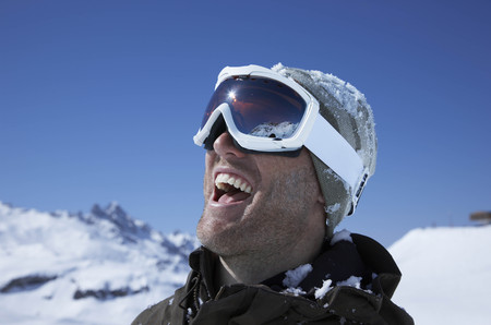 defended: Portrait of man wearing ski goggles