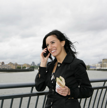 chic woman: Businesswoman on phone with lunch