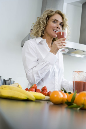 new age: Woman with healthy drink