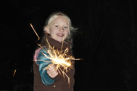 pyrotechnics: Young girl with sparkler