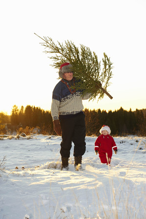 pursuing: Man and boy with Christmas tree in snow LANG_EVOIMAGES