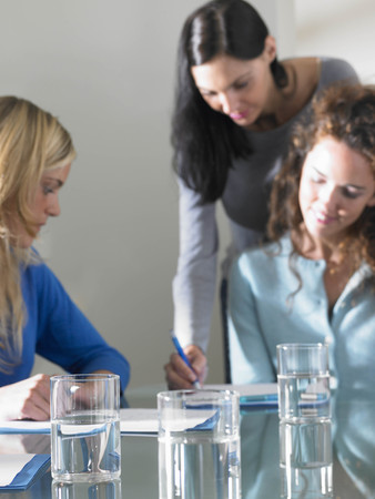conferring: Business women working, smiling LANG_EVOIMAGES