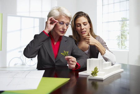 weber: Two female architects at work in office