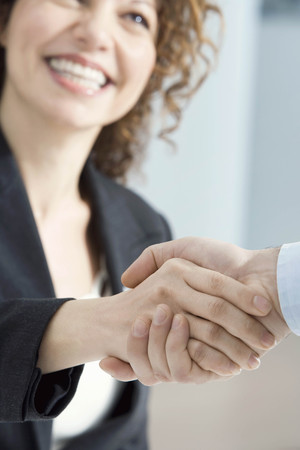 agrees: Businesswoman smiles and shakes hands