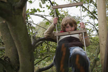 scaling ladder: Boy climbing to treehouse