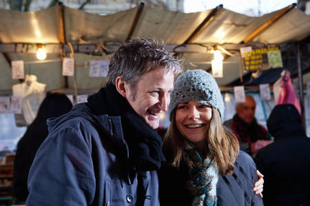 sweethearts: Couple at outdoor market