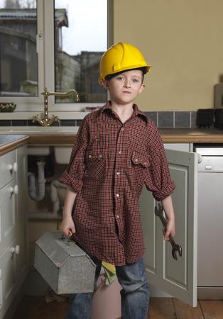 dressups: Boy dressed as repair man