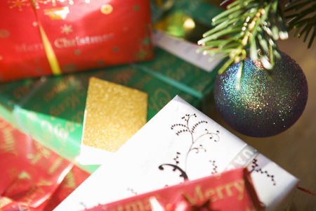 ornamentations: Christmas presents under tree LANG_EVOIMAGES