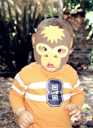 dressups: Toddler wearing Cartoon Mask