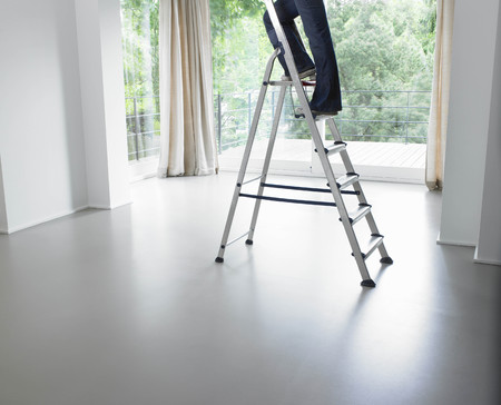 scaling ladder: Woman on a ladder, in living room LANG_EVOIMAGES