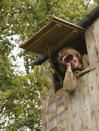 detects: Boy with binoculars in treehouse