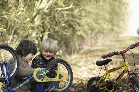 agachado: Dos, niños, examinar, bicis, país, carril