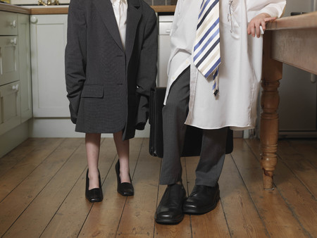 low section: children dressed as business people