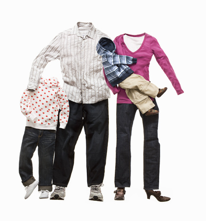 A family made from clothes LANG_EVOIMAGES