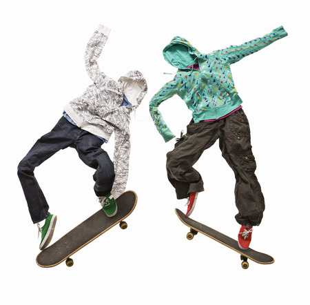exhilarating: Invisible skateboarders jumping