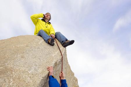 ahorcada: Escalador, asegurando, compañero, escalador